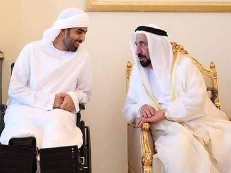 Sultan visits RAK Ruler to inquire about son injured in Yemen.